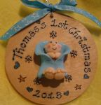 Baby's 1st First Christmas 3d Personalised Wooden Bauble Tree Hanger Pink / Blue Unique Sign 2016 or any year